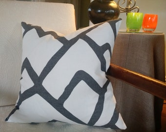 Schumacher ZIMBA Pillow Cover  in Charcoal