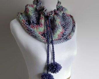 Purple Wool Neckwarmer, Pom Pom Scarf, Infinity Scarf, Tassel Scarf, Wool Infinity Scarf, Knit Wool Scarf, Chunky Infinity Scarf