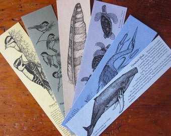 Bookmarks Stocking Stuffer Pack - Set of 6 designs of your choice- 100% Post-Consumer Recycled Paper with Beautiful Artwork and Stories