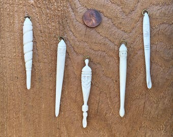 Viking Ear Spoon Bead Hanger- Hand-carved Bone Viking Accessory- Viking Toilet Implement- Viking Grooming