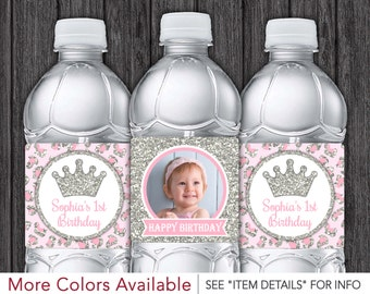 Princess Cheetah Water Bottle Labels - Printable Pink and Silver Birthday Party Decorations - DIY Digital File