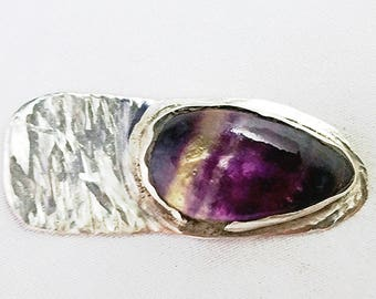 Tie Clip, .925 Sterling Silver, Flourite, Handmade in USA, Amethyst, OOAK, One of A Kind, Artisan, Mens Accessories, Flourite Tie Bar