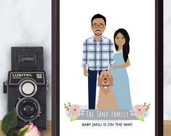 Illustrated family portrait, Pregnancy announcement, custom illustrated drawing, Pregnant couple, pets, sentimental baby shower gift,