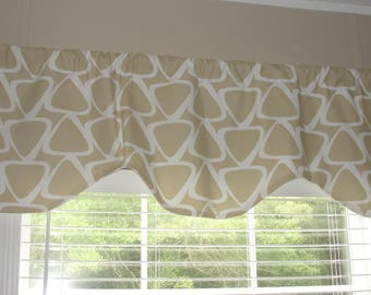 """Premier Prints Jace Camel Scalloped Valance 52"""" wide x 18"""" long Lined Beige and White"""