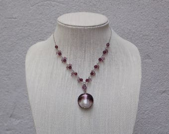 Round Purple Glass Pendant Necklace with Crystal Beads