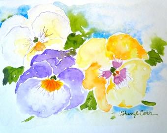Mixed Pansies Watercolor Notecard