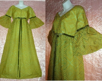 SALE! 1960s Vintage Maxi Dress Renaissance San Francisco Forest Fairy Lorrie Deb Green Floor Length Belled Sleeves Hippie Festival M/L/Large