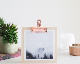 "5x5 Tree and Fog Print on a Birch Clipboard + Copper Clip - Fine Art Square Photo Display Minimalist Modern Art ""Mountain Fog Clipboard"""