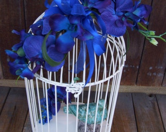 SALE,Blue Orchid Wedding Bird Cage Card Holder,Last One in Stock,White Wire, Upcycled Home Decor Item