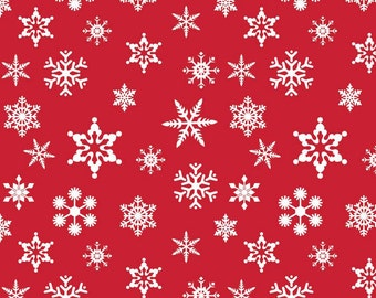 Riley Blake Christmas Fabric C566-Red Holiday Snowflake Fabric, Cotton Christmas Fabric,  Christmas Quilt Fabric, Red & White Holiday Fabric