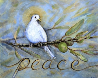 Peace Dove, Dove Mounted Art Print, Bird Art, Peaceful Art, Dove and Olives, Religious Art, Easter Art, Olive Branch, Bird Oil Painting