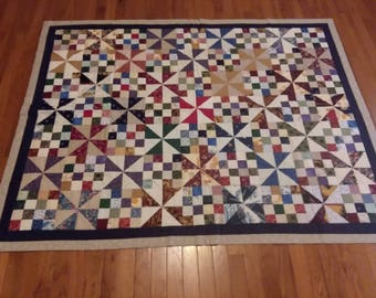 Handmade Hand Quilted Split 16 Patch Pinwheel Throw Quilt Multicolor Scrap Traditional