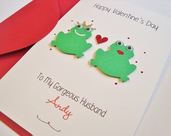 Personalised Frogs Husband/Wife/Boyfriend/Girlfriend/Fiancé/Fiancée Handmade Valentine's Card
