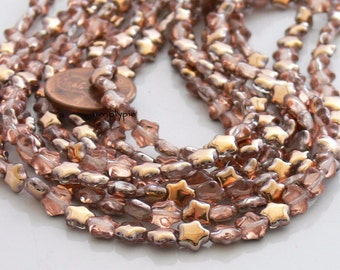 6mm Star Copper and Crystal Czech Glass Beads 50