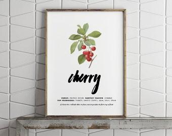 Printable Wall Art - Vintage Cherry - Digital Print - PDF Poster - Fruit Poster - Digital Download Print - Printable Kitchen Poster - 8x10