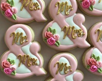 Wedding cookies, Mr and Mrs Cookies, Shower Cookies, Party Favors, Treat Bags, Shower Desserts, Engagement Gifts, Wedding Treats