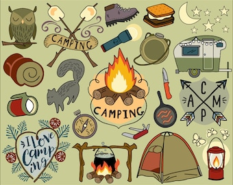Camping Clipart, summer clipart, bullet journal stickers, vacation clipart, campfire clip art, camping clip art, hiking clip art, tent