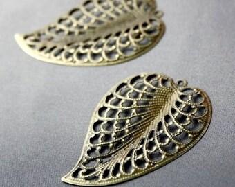 Pack of 20 – Antique Bronze Filigree Leaf