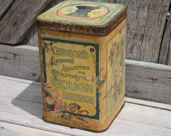 Antique Gibson's Cough Lozenge Drug Store Countertop Display Tin