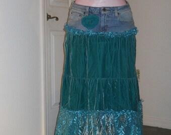 Teal velvet lace jean skirt sea goddess Narissa turquoise ocean blue bohemian mermaid Renaissance Denim Couture Free People