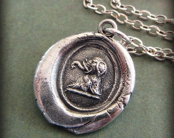 Elephant Wax Seal  Necklace - Strength, Wit and Ambition - good luck symbol - good luck jewelry - RP830