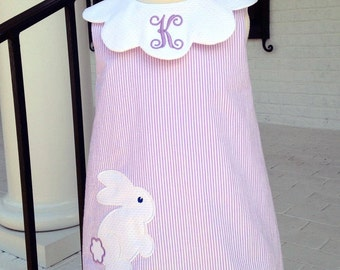A-line Bunny Dress with Scalloped Collar