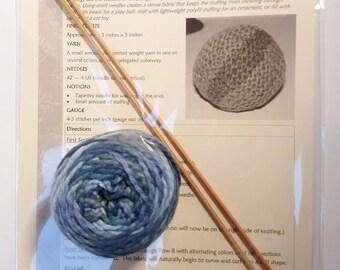 Knitting Kit: Yarn Ball Pattern, Needles & Yarn