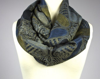 Navy scarf, navy infinity scarf