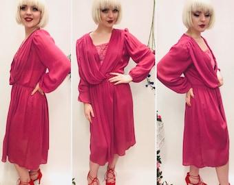 Sheer vintage Dress, size 12/14, pink dress, summer dress, garden dress.