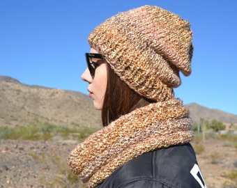 Chunky cowl and winter hat
