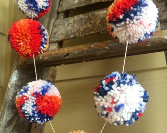 Multi Colored Yarn Pom Pom Garland, Blue and Orange Pom Pom Garland