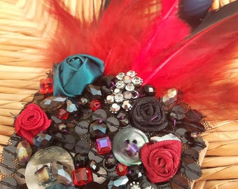 Arctic Ice Flower - ATS or tribal fusion belly dance hair clip | Gatsby flapper art deco  fascinator 1920 party ball (M)