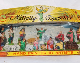Vintage Christmas Nativity Figure Set 20 Pieces Hong Kong by Brite Star