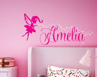 Fairy wall decal, baby name, personalized name, girl name decal, nursery wall decal, name with fairy, fairy wall decal, fairy and stars art
