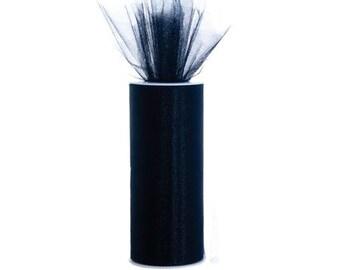 "TULLE Fabric Spool - 1 Roll 6"" X 75' (25 Yards) - Wedding decor, tutu, party materials - Black"