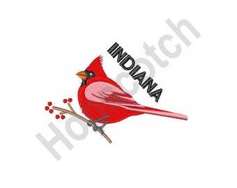 Indiana Cardinal - Machine Embroidery Design - 4 X 4 Hoop, State Bird, Indianapolis, Bird Watcher