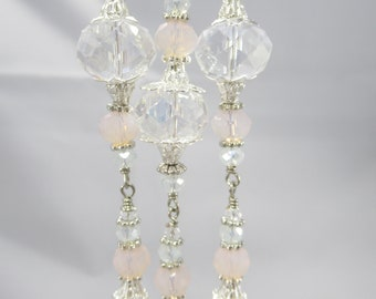 Pink Opal and Crystal Bead Dangle Ornament Set of 3