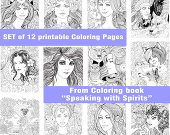 """Printable PDF Coloring Pages Set """"12 Beautiful Lady"""" from the coloring book """"Speaking with Spirits"""" for colouring and relaxation"""