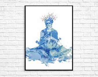 Frida Kahlo with Starry Night Original Artwork Print Poster