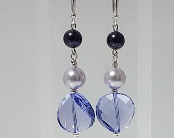 Big Lavender Twist & Pearls, Swarovski Earrings, Sterling Silver, Lever Back