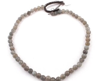 Memorial Day 1 Strands Long Gray Moonstone Faceted Round Ball Bead - Gray Moonstone Beads 7mm 14 Inches SB4820