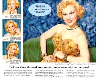 1953 Virginia Mayo Tru Glo Westmore Cosmetics Beauty Advertisement Old Hollywood Glamour Movie Star Broadway Actress Wall Art Bathroom Decor