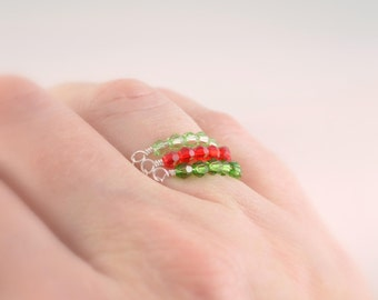 Crystal Stacking Rings, Sterling Silver Chain Ring Set, Swarovski Beads, Watermelon Colors, Red Green, Beaded Row, Size 7, Jewelry