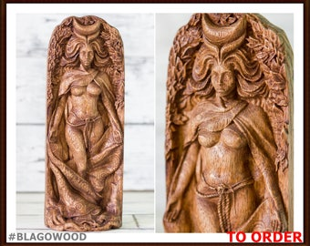 Moon goddess, wooden, Aradia, lunar goddess, celtic, pagan, wiccan, wicca, altar, druid, witches, gaelic, gods