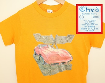Corvette sports car vintage kid's t-shirt youth L yellow 70s 80s iron-on graphic Chevy Chevrolet