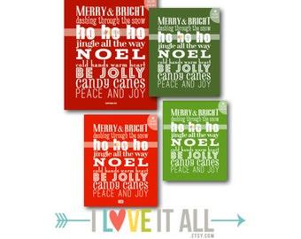 Christmas Holiday Seasonal Subway Art Scroll Roll Print . Holiday Home Decor Song Lyrics .  Red Green Wall Decor