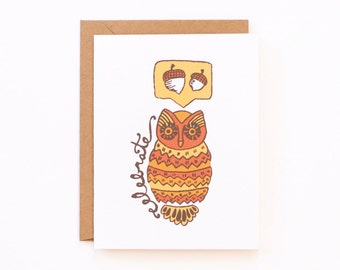 Celebrate Fall Owl Greeting Card