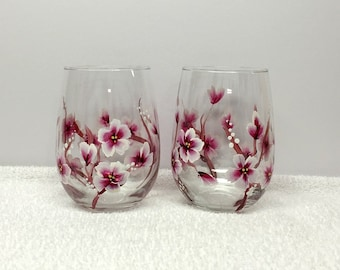 Cherry Blossoms (Large Flowers) Hand Painted Wine Glasses (Set of 2)