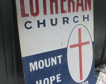 29.75 x 19.75 Double Sided Metal Lutheran Church Mount Hope Mo Sign Vintage , Vintage Church Sign, Vintage Advertising Sign, Religious Decor