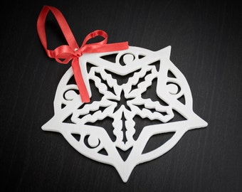 Snowflake Ornament with Ribbon - 3D Print